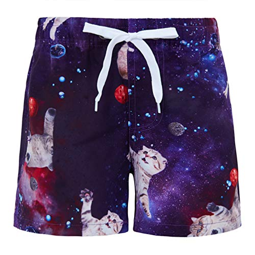 88b91fd583 Funnycokid Swim Shorts for Boys Surf Swimming Funky Cat Pattern Kids Sports  Wear Board Shorts 3
