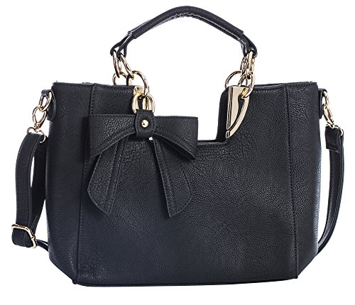 BHBS Damen Mittlere Henkeltasche Trendige Schulter Handtasche 33 x 24 x 9 cm (B x H x T) - Black