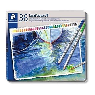Staedtler karat aquarell watercolour pencils tin set of 36 assorted colours