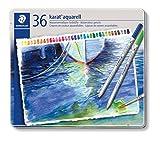 Staedtler Karat Aquarell, Crayons de couleur aquarellables de qualité professionnelle, Grande miscibilité des couleurs, Boîte métal de 36 crayons assortis, 125 M36