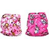 Baby Bucket All-In-One Bottom-bumpers Cloth Diaper Set Of 2 (Pink Monkey & Zebra)