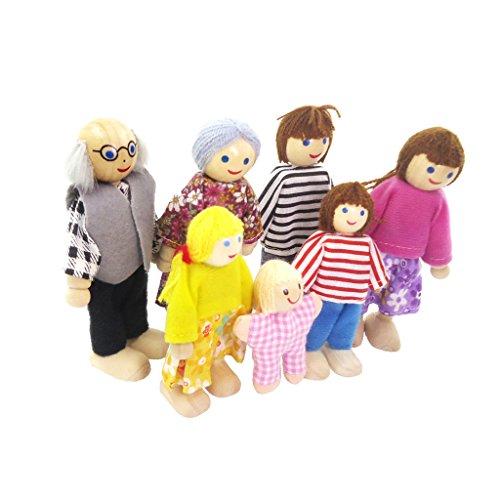 Sharplace 7 Personen Familie Puppen - Biegepuppen aus Holz & Stoff - Minipuppen für 1:12 Miniatur Puppenhaus Zubehör - Geschenk Spielzeug für Kinder Puppenhaus 1 12 Maßstab Familie