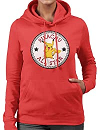 Pikachu Pokemon All Star Converse Logo Women's Hooded Sweatshirt