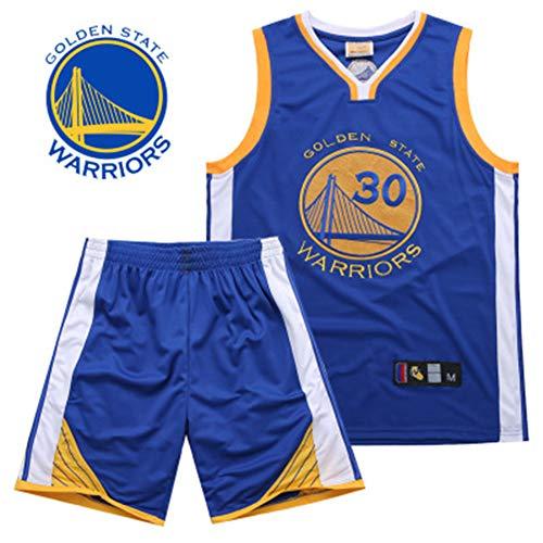 LZNK Herren Trikot - NBA Warriors Curry 30. Trikot Stickerei Basketball Swingman Trikot Fußball Set-Blue-XL (Stickerei-buchstaben-software)