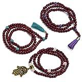 Ahimsa Glow® Mala-Kette mit Edelstein-Perlen und Anhänger –Gebetskette aus 108 Holzperlen und Halbedelsteinen