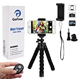 Phone Tripod, GoFree GoPro Tripod Portable Camera Mount Tripod with Remote Shutter Flexible Desk Travel Outdoor Tripod for iPhone 6 6s 5 5s Plus 7 7S Digital Camera GoPro Hero 5/4/3 Phone