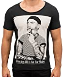 Herren T-Shirt Growing Old is not for Sissies Freizeitshirt Tattoo Print Motiv Slim Fit Tshirt (L, Schwarz)