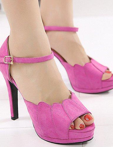 LFNLYX Chaussures Femme-Habillé-Noir / Rose-Talon Aiguille-Talons / Bout Ouvert / A Plateau-Sandales-Laine synthétique fuchsia