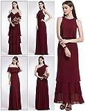 Ever Pretty Frauen elegante V-Ausschnitt Off shulder Rüschen verstellbare Brautjungfern Festkleid Kleid 44 Größe Burgundy