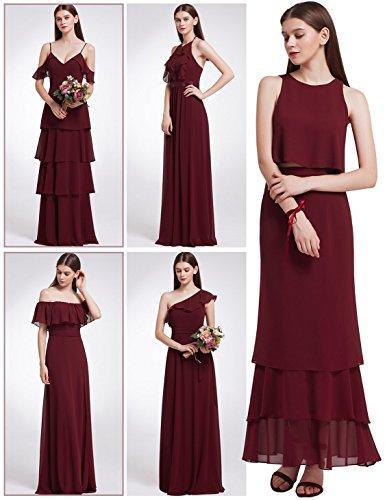 Ever Pretty Frauen Elegantes zweiteiliges ärmelloses geschichtetes Brautjungfernkleid Kleider mit...