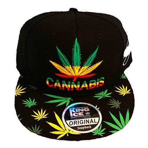 King Ice Cannabis Marijuana Herbe leaf Plat Visière Snapback Couvercles b102cae4aef2