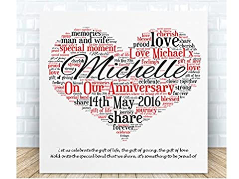 Personalised Our Anniversary Word Art Ceramic Plaque. Boxed. Personalised details required.
