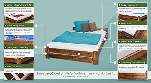 Futonbett / Massivholzbett Kiefer Vollholz massiv Nussfarben A9, inkl. Lattenrost – Abmessung 140 x 200 cm