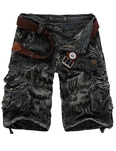 Menschwear Herren Vintage Cargo Shorts Bermuda Kurze Hose Sommer Kurze Hose Dunkel Grau