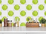 GRAZDesign 770426_57x57_FT Fliesensticker für die Küche | Fliesenaufkleber-Set Limette | Wandfliesen einfach mit Fliesenfolie verschönern | Fliesenset in rund | selbstklebend (57x57cm)
