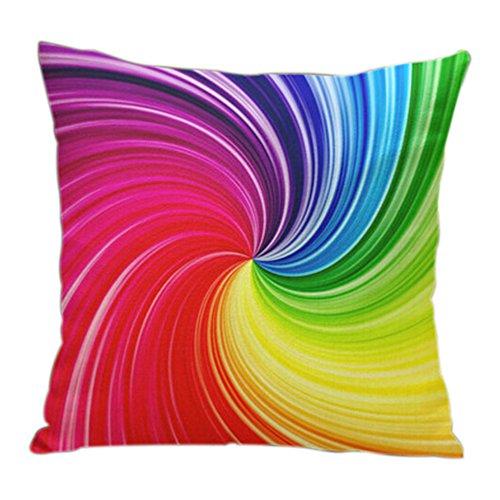 Yunhigh quadratischen Sofa Kissen deckt Wohnzimmer Stuhl Kissen deckt bunte abstrakte Regenbogen Baumwolle werfen Kissen Fall für Sofa Couch Lounge Büro Sitz Wohnkultur - Wohnzimmer Stuhl Deckt