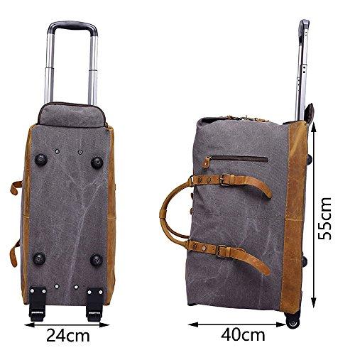 Neuleben 50 Liter Reisetasche mit Trolleyfunktion Rollen Rollenreisetasche Vintage Unisex Weekender für Reise Urlaub (Grau) Schwarz