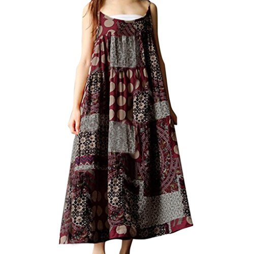 SMILEQ Women Summer Sleeveless Dress Casual Linen Strappy Loose Boho Print Skirt Plus Size Long Sundress