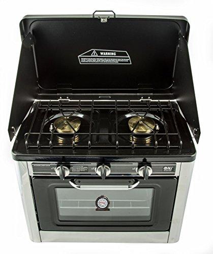 gaskocher 2 flammig campingkocher mit gas backofen mit deckel ofen gasgrill gasherd inkl. Black Bedroom Furniture Sets. Home Design Ideas