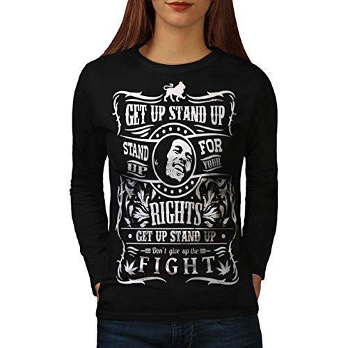 Bob Marley Zitat Stand Kampf Damen M Langarm-T-Shirt | Wellcoda (T-shirt Hund Zitat)