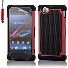 32nd® Funda Rígida Anti-Choques de Alta Proteccion para Sony Xperia Z1 Compact (D5503) Carcasa Defensora de Doble Capa - Rojo