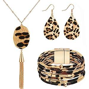 3 Stück Leopard Schmuck Set Leopard Leder Armband Baumeln Ohrring Halskette für Damen