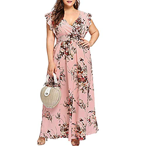 Damen Plus Size Damen Plus Size Sommer V-Ausschnitt Blumendruck Boho Sleeveless Party Maxi-Kleid Langes Shirt Rosa XXXL (Plus Size Frauen Kleid Für Shirt)