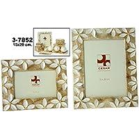 DRW - Portafotos de nácar para Foto de 15cm x 20cm con Flores en Color Blanco