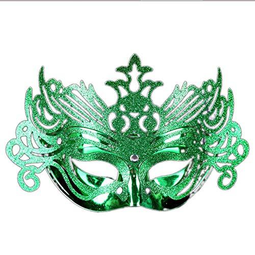 JASNO Kinder Unisex Masquerade Half Face Gold Pulver Crown Maske Ghost Festival Kostüm Kostüm Kindertag Party 5-Teiliges Set, Multicolor,Green