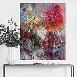 Orlco Art Hochwertige handgefertigte-Messer mit grau-silber Blume Bild auf Leinwand, abstrakte Malerei-Stil, mit Bild, Foto mit Ölgemälde, canvas, grau/silber, 24x36inch(60x90cm)