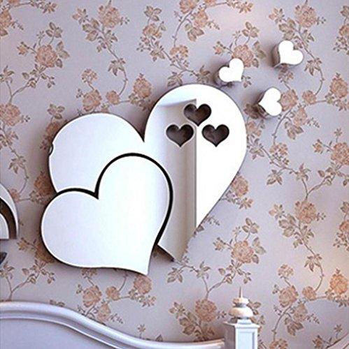 (Resplend_Haushalt Aufkleber,Resplend 3D Spiegel Love Hearts Wandaufkleber DIY Wandtattoo Kunst Wandbild Dekor Entfernbar Wandsticker Wasserdicht Wanddeko Wandbilder (Silber))