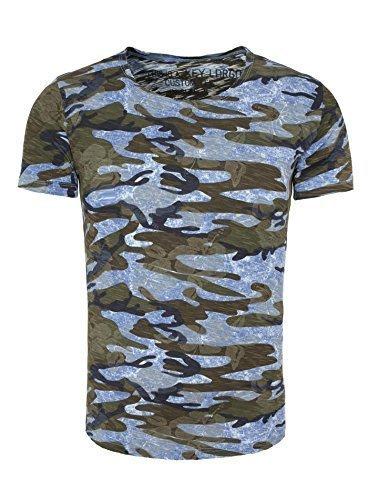 Key Largo Herren TShirt CELEBRATE Camouflage Look mit Flower Print und  Ziernaht Blau