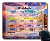 Yanteng Calendrier 2019 avec Blocs de Vacances Importants, Tapis de Souris, Tapis de Souris Gaming Sky High