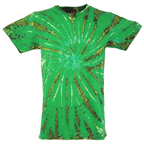 Guru-Shop Batik T-Shirt, Herren Kurzarm Tie Dye Shirt, Lemon, Baumwolle, Size:XL, Rundhals Ausschnitt Alternative Bekleidung (Tie Herren-xl Dye)