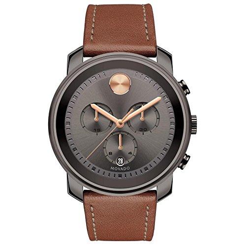 Movado uomo Bold orologio con cinturino in pelle marrone 3600421