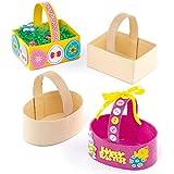 Osterkörbe aus Karton zum Dekorieren und Basteln für Kinder zu Ostern (6 Stück)