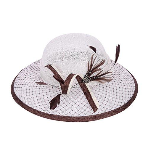 Women's Sun Hat Kentucky Derby Adjustable Organza Large Brim Floppy UV Protection Caps Beach Cap for Church Party Wedding