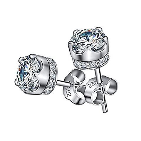 LANMPU 925 Sterling Silver Swarovski Elements Sparkling Diamond Stud Earrings for Women (White)