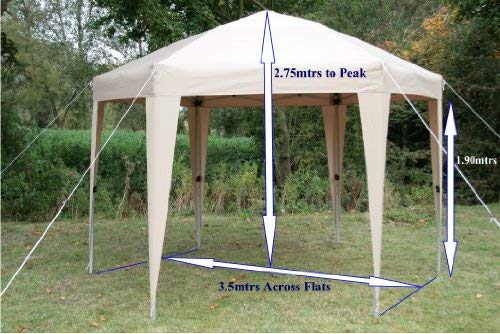 Beautiful and elegant, this hexagonal gazebo features six side walls and four window panels. It is an easy to set up or collapse unit thanks to the push button mould design. You can choose to play with the six side walls and tie them in however style you want. The four window panels allow light into the gazebo therefore, brightening the space. There are two zipped panels and tie backs for you to create different looks as needed.