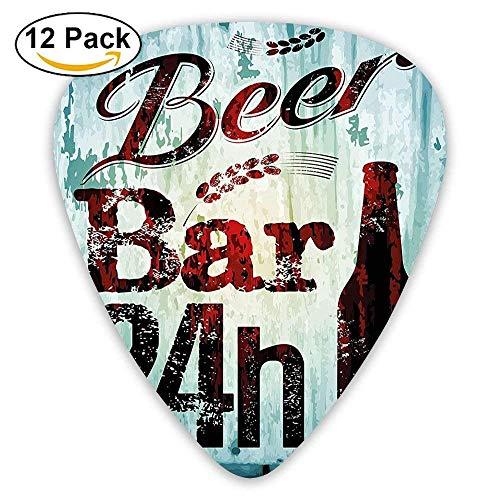 Grunge Beer Bar 24h Figure Old Pub Sign Emblem Restaurant Graphic Guitar Picks 12/Pack Set (Bar Wave Halloween New)