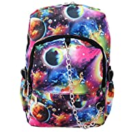 Space Galaxy Pattern Backpack Rucksack | Multicolour School College Cosmos Check Goth Rock Emo Skate Bag