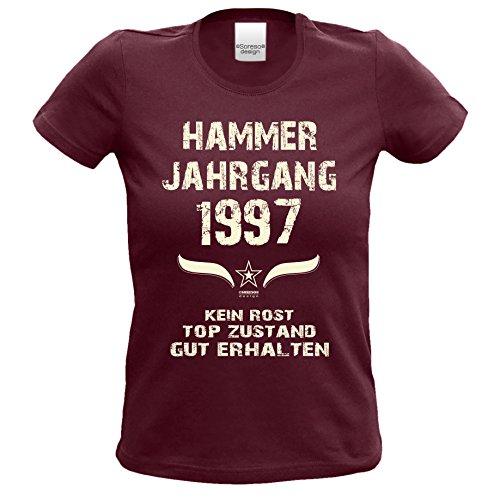 Geschenk zum 20. Geburtstag Hammer Jahrgang 1997 : Damen Frauen Mädchen Girlie Kurzarm T-Shirt - Geschenkidee Geburtstagsgeschenk Geschenkset Farbe: burgund Burgund