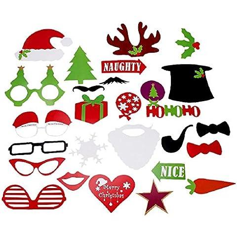 tongshi 27pcs DIY Photo Booth Puntelli Moustaches su una festa di Natale Bastone