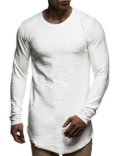 LEIF NELSON Herren oversize Sweatshirt Hoodie Hoody LN6298; Größe M, Ecru