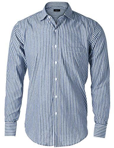 JEETOO Moderne Herrenhemden Gestreift Slim Fit Langarm Hemd Männer Hemd Freizeit Bügelleicht, (XXX-Large, Dunkel Blau) (Weiß Und Rot Gestreiften Hemd Herren)