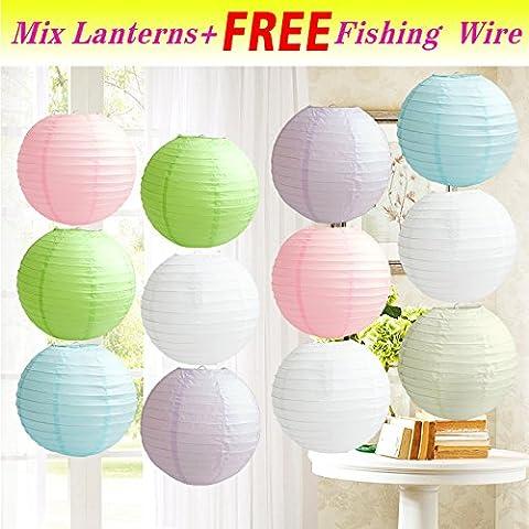TtS 12 Mixed Round Paper Lanterns Lamp Shade Wedding Birthday Party Decoration --Pastel Shade