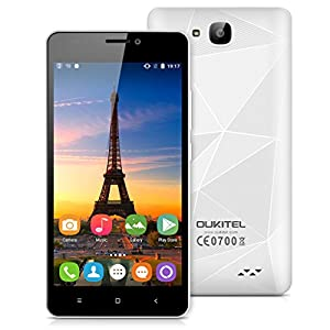 OUKITEL C3 5.0 Inch 3G Multi-Touch Screen Smartphone Android 6.0 MT6580 Quad Core 1G RAM 8G ROM Mobile Phone Dual SIM Cellphone (White)