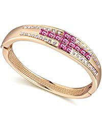 Hot And Bold Swarovski Crystals Gold Plated Charm Bangle/Kada/Bracelet. Daily/Party Wear Fashion Jewellery.