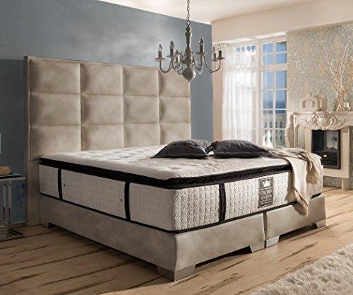 Schlichter Möbel Boxspringbett Quadro Plus Deluxe (Kunstleder Sandbeige, 180 x 200 cm)