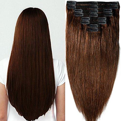 Clip in Extensions Set 100% Remy Echthaar 8 Teilig Haarverlängerung dick Dopplet Tressen Clip-In Hair Extension ( 35cm-120g,#4 mittelbraun)
